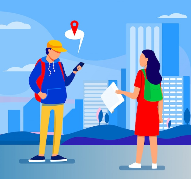 Turista con mapa de papel preguntando destino