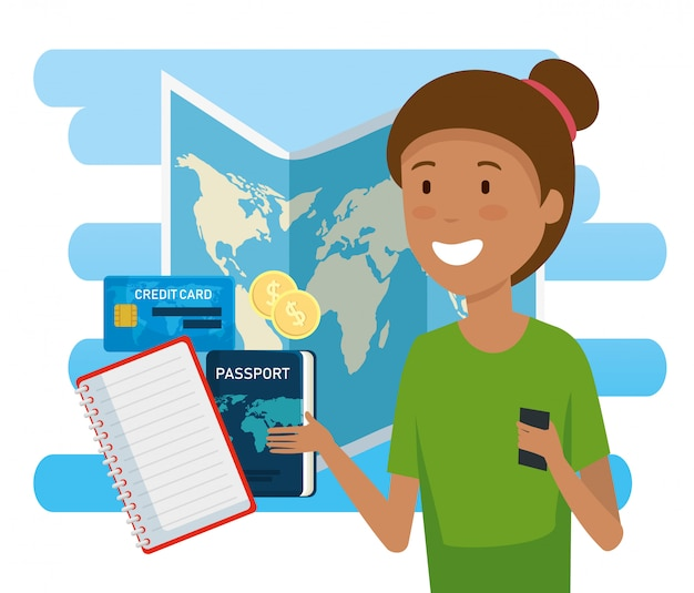 Turista mujer con mapa global y pasaporte