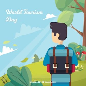 Turista en la naturaleza con diseño plano