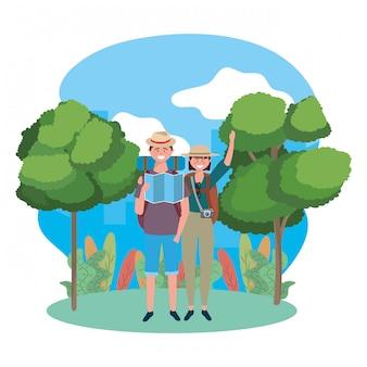 Turista niño y niña con bolsa
