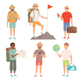 Turista. personajes al aire libre, viajeros, excursionistas, mochileros, pueblos, aventura, colección