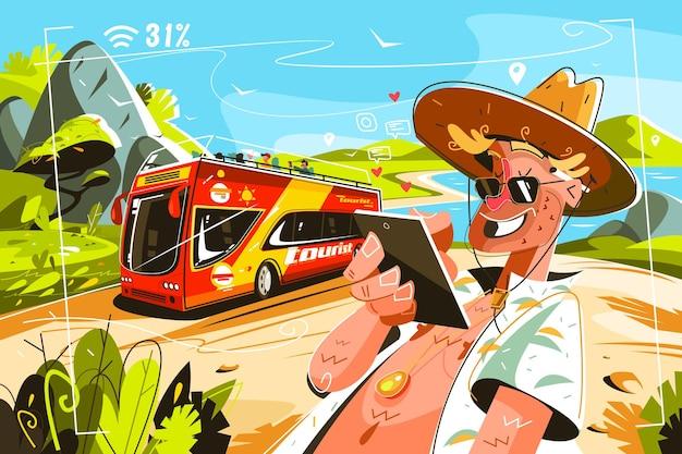 Turistas alegres en autobús vector ilustración caricatura hombre sonriente en camisa y gorra navegando por internet