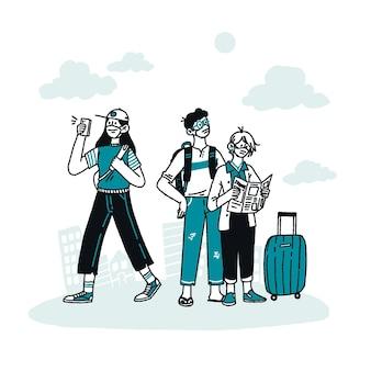Turistas dibujados a mano con equipaje.