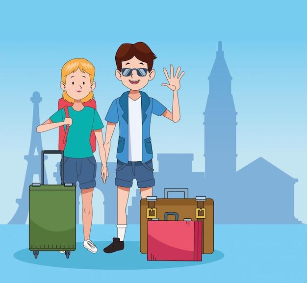 Turistas de dibujos animados y diseño de viajes mundiales