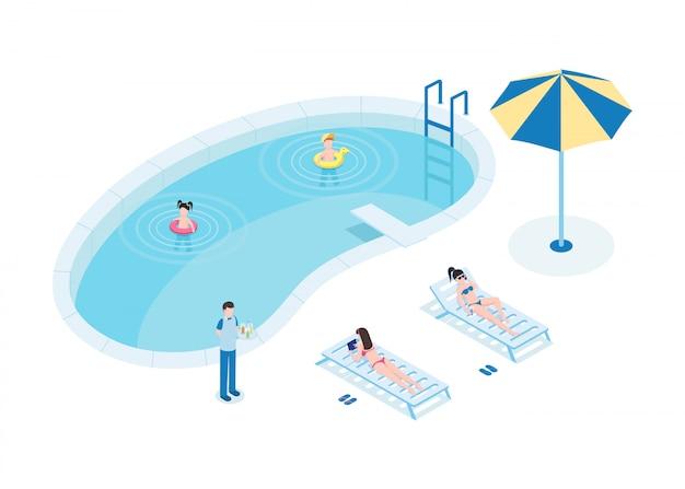 Turistas en el ejemplo isométrico del vector de la piscina. madres con hijos y camareros personajes de dibujos animados en 3d.