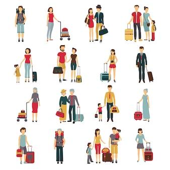 Turistas con equipaje viajando con compañeros.