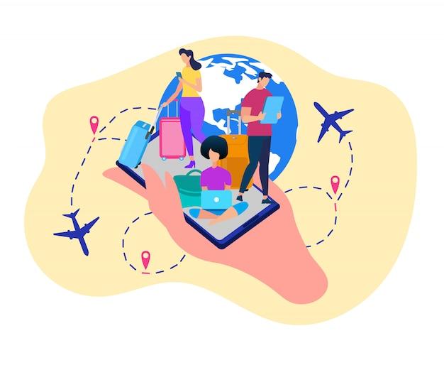 Turistas con gadgets reservando entradas vector.