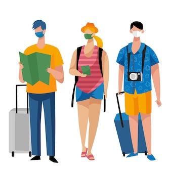 Turistas con máscaras faciales