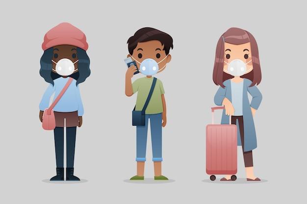 Turistas con mascarillas | Vector Gratis