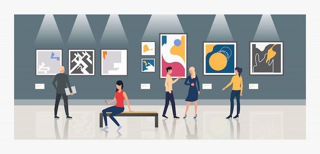 Turistas mirando pinturas en galeria de arte ilustracion