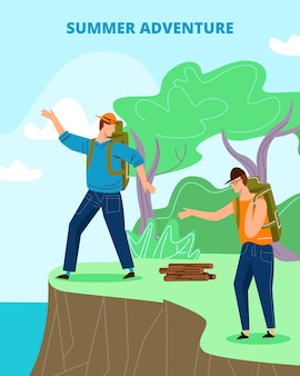 Los turistas con mochilas se paran en el borde del acantilado