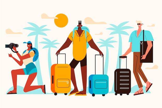 Turistas planos con equipajes.