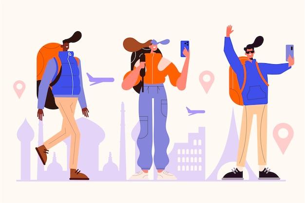 Turistas planos tomando fotos