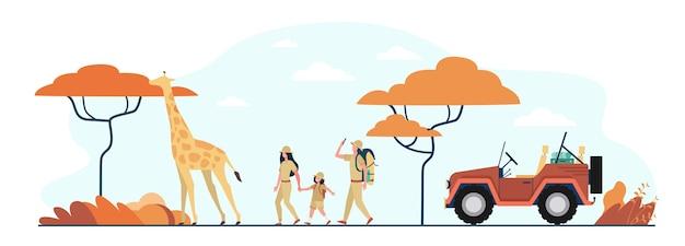 Turistas que caminan en la sabana africana. personajes de dibujos animados familiares, jeep, jirafa, paisaje con árboles. ilustración de vector para viajes de aventura, gira en concepto de áfrica