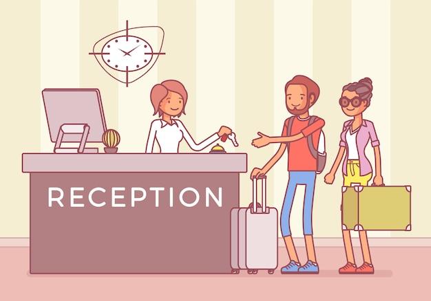 Turistas en recepción en un hotel