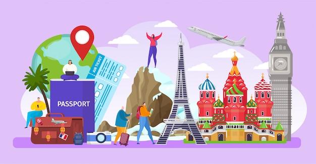 Los turistas viajan por el mundo, personajes de dibujos animados activos hombre pequeño mujer viajan en una visita turística
