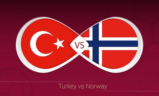 Turquía vs noruega en la competencia de fútbol, grupo g. versus icono sobre fondo de fútbol.