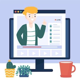 Tutorial en línea en computadora ilustrado