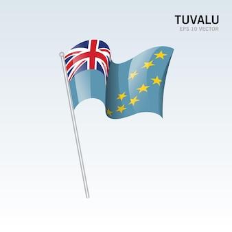 Tuvalu ondeando la bandera aislado en gris
