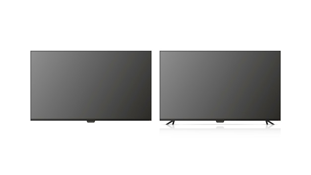 La tv está apagada. tv aislado sobre fondo blanco.