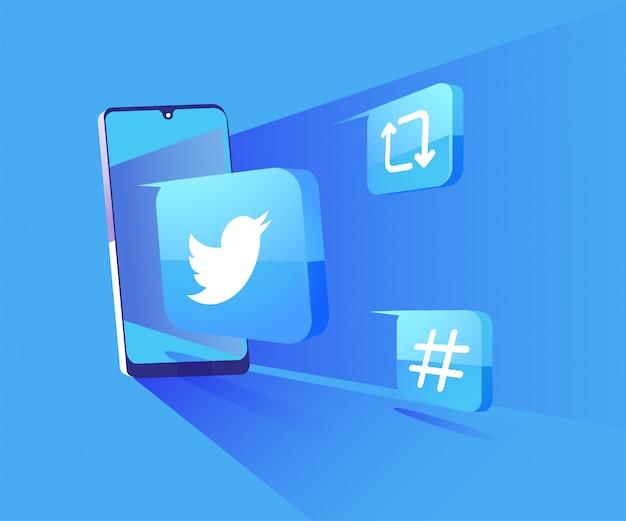Twitter 3d redes sociales con ilustración de símbolo de teléfono inteligente