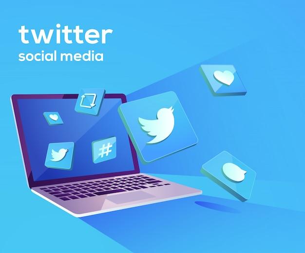 Twitter 3d social media iicon con laptop dekstop