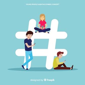Twitter hashtag. adolescentes en redes sociales