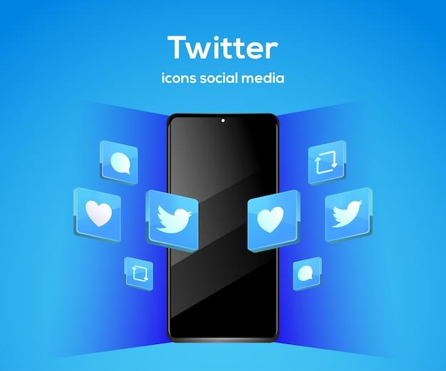 Twitter iconos de redes sociales 3d con símbolo de teléfono inteligente