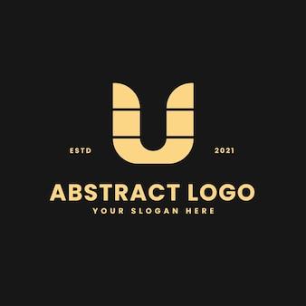 U carta lujoso bloque geométrico de oro concepto logo vector icono ilustración