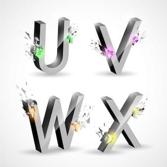 U v w x, letras metálicas con explosiones