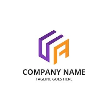 Ua letter cube logotipo y plantilla de elemento de icono