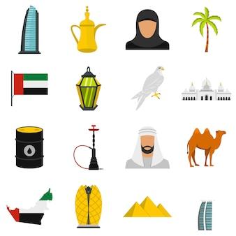 Uae viajes set iconos planos