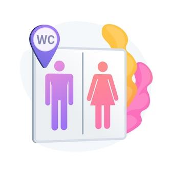 Ubicación de baños públicos. signo de aseo, baños masculinos y femeninos, wc y símbolo de geoetiqueta. siluetas de caballero y dama en letrero de lavabo.