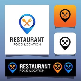 Ubicación de la comida del restaurante con un concepto de diseño de logotipo pin