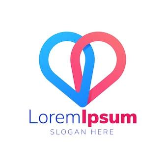 Ubicación de doble pin con logotipo de amor