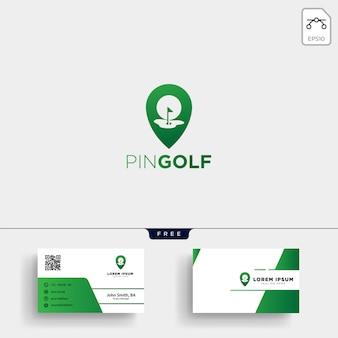 Ubicación de golf o plantilla de logotipo de mapa y diseño de tarjeta de visita