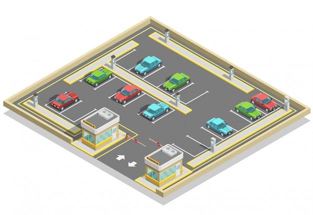Ubicación isométrica de la zona de estacionamiento