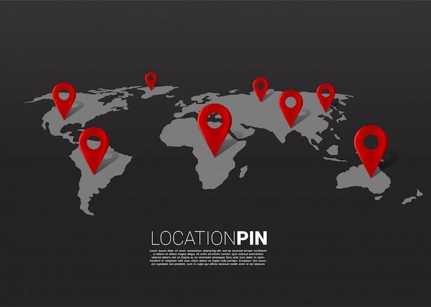 Ubicación marcador 3d pin en el mapa del mundo. concepto de infografía del sistema de navegación gps.