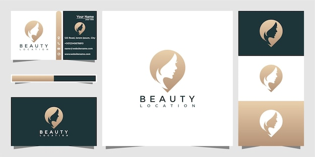 Ubicación de mujeres de belleza y tarjeta de visita.