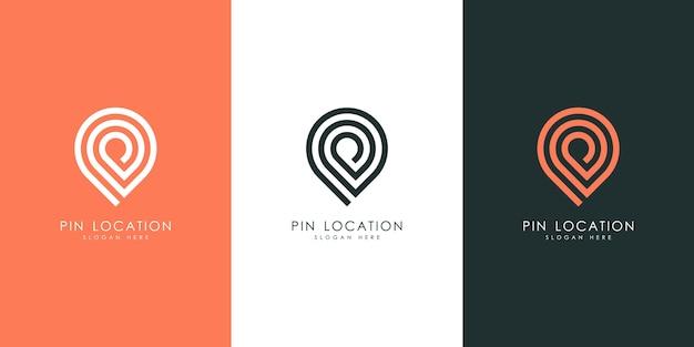 Ubicación del pin fuera de línea diseño de logotipo
