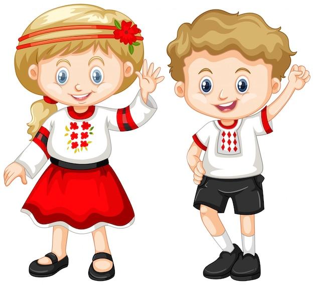 Ucrania niños en traje tradicional