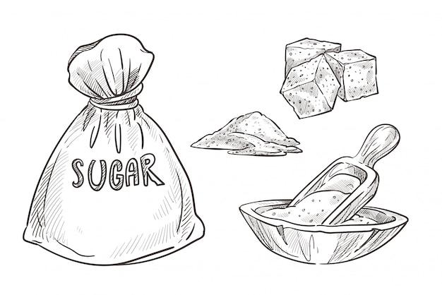 Ugar almacenado en bolsa de arpillera y tazón de madera con cuchara