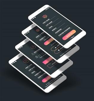 Ui de la aplicación móvil pantallas de inicio de sesión y registro kit de maqueta 3d