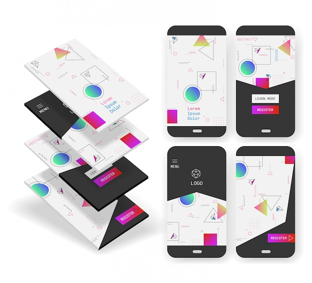 Ui geométricas abstractas pantallas maquetas 3d