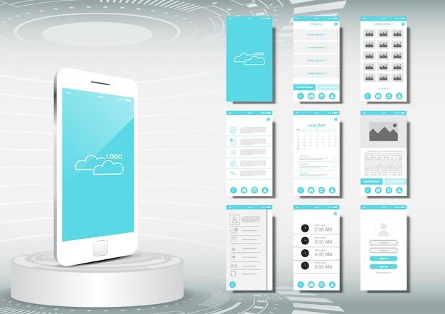 Ui, ux para maqueta de plantilla de aplicación móvil