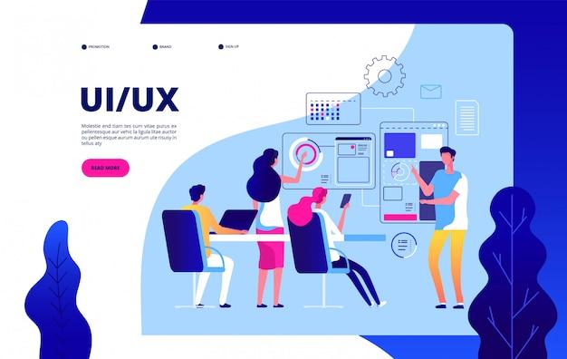 Ui ux página de inicio. la mejor experiencia de usuario, automatización de la interfaz de usuario digital, pruebas de concepto moderno