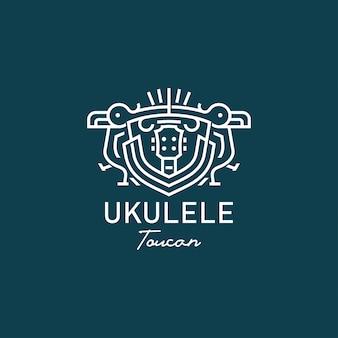 Ukelele con tucán en estilo simple escudo de armas