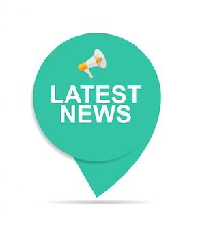 Últimas noticias firmar icono de etiqueta con megáfono
