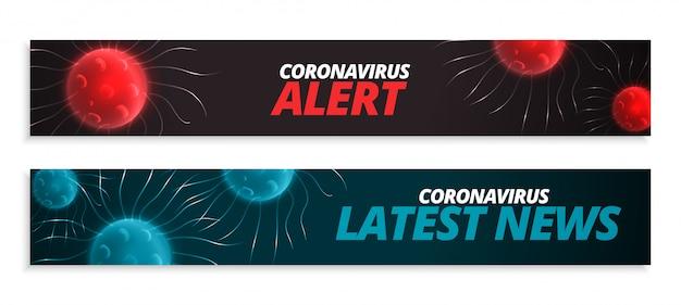 Últimas noticias y pancarta de alerta para la pandemia de coronavirus