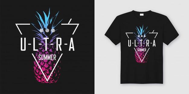 Ultra verano. elegante camiseta y ropa de diseño moderno con estilo neón